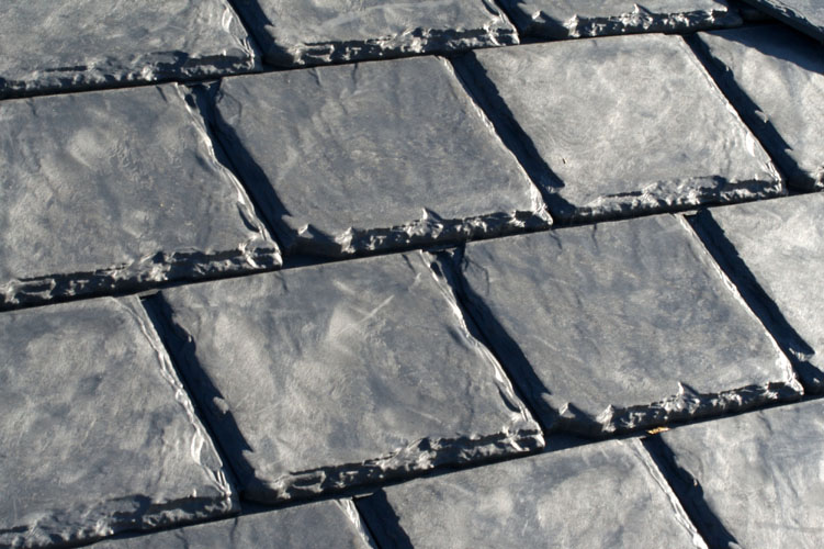 Shingles made from recycled materials.