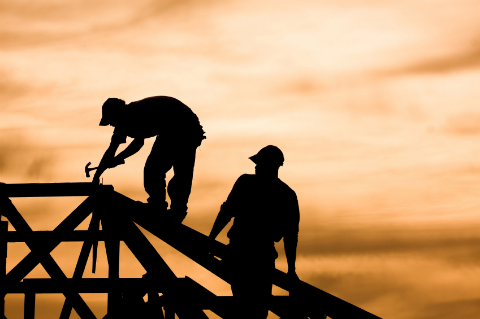 Roofers at Sunset